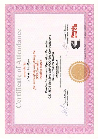 сертификат Каминз